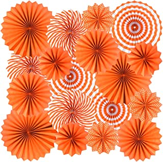 18Pc Party Hanging Orange Paper Fans, Fall Paper Fans Orange Round Folding Fans Wall Decor Paper Garlands Flower Decoration for Fall Party Decorations Thanksgiving Halloween Birthday Festival Wedding