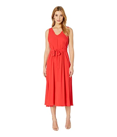 B Collection by Bobeau Riley V-Neck Pleated Maxi Dress (Aurora/Red) Women