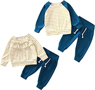 GRNSHTS Baby Brother Sister Family Matching Outfits Newborn Boy Girl Ruffle Striped T-Shirt Solid Pants Clothing Set