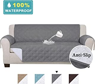 100% Waterproof Oversized Sofa Covers for Living Room Plush Faux Cotton Furniture Protector Slipcovers for Kids, Dogs, Pets, Anti Slip Backing (Seat Width: 78