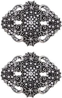 Casualfashion 2 Pcs Decorative Vingate Retro Shoe Clips Rhinestone for Women Pumps Flats Shoes Silver Size: Approx 5 × 4 cm / 1.96 × 1.57 inch