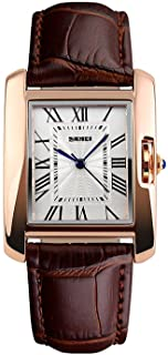 Fanmis Womens Watches Rose Gold Case Roman Numeral Luxury Wristwatch Square Brown Leather Strap...