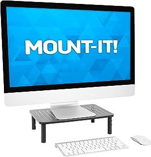 مونت إت! آلة رفع الشاشة القابلة للتعديل [سعة 20.96 كجم] منصة شاشة كمبيوتر معدنية حامل لسطح المكتب أو الكمبيوتر المحمول، حا...