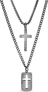 "Steve Madden 28"" Oxidized Stainless Steel Box and Curb Chain Cross Pendant and Dogtag Duo Necklace Set For Men"