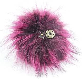 DIY 1pc 5.1inch (13CM) Fluffy Faux Fox Fur Pom Pom Ball with Press Botton (Purple)