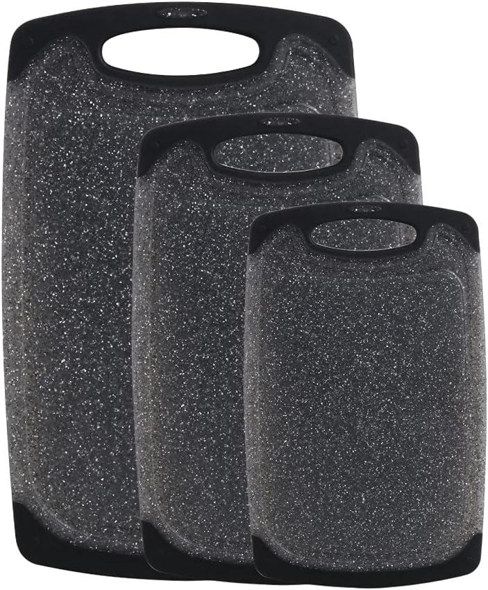 Haomacro - Tabla de cortar de plástico para cocina, sin BPA, antideslizante, apto para lavavajillas, no poroso, juego de 3 tablas de cortar, fácil de limpiar, color negro