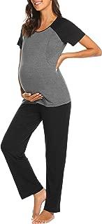 Women Long Raglan Sleeve Maternity Pajama Set Baseball Nursing Breastfeeding Sleepwear Hospital PJ Sets