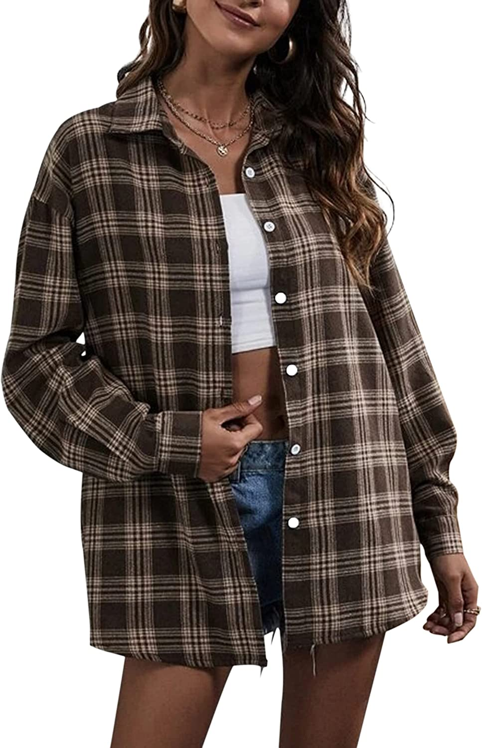 Meladyan Oversized Plaid Button Down Shirts for Women Long Sleeve Collar Loose Blouse Jacket Top Casual Workout Outfits