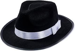 Black Fedora Hat - Gangster Hat - Black and White Fedora Hat - Mobster Hat (Fedora Hat)