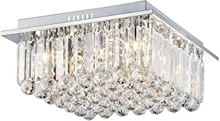 Saint Mossi Modern K9 Crystal Raindrop Chandelier Lighting Flush Mount LED Ceiling Light Fixture Pendant Lamp for Dining Room Bathroom Bedroom Livingroom G9 Bulbs Required H7