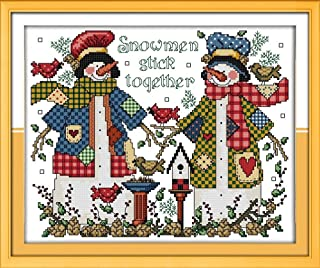 CaptainCrafts New Cross Stitch Kits Patterns Embroidery Kit - Christmas Snowman Couple (STAMPED)