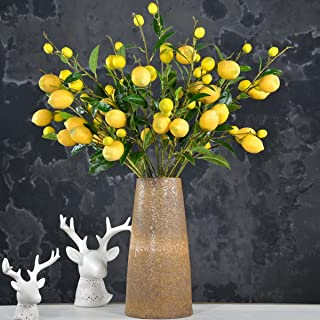 Sunm boutique 2 Pack Artificial Lemon Branch Vivid Yellow Artificial Lemon Branch Home Party Garden Decoration