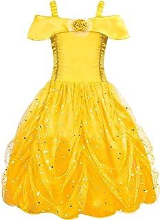 8971732129025 AmzBarley Filles Princesse Belle Costume Robe de Soirée Les Enfants Belle et  La Bête Cosplay Déguisement