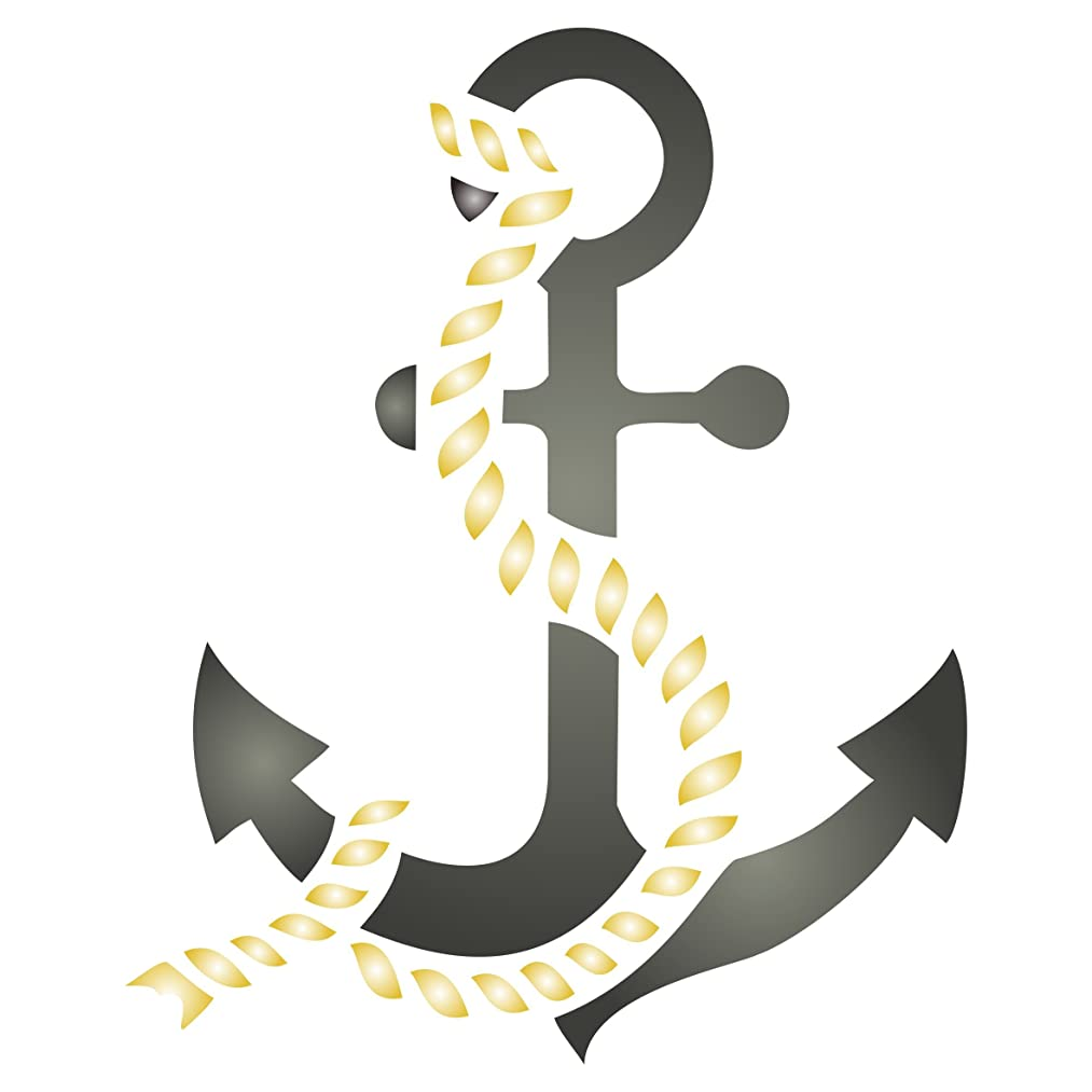 Anchor Stencil - 6.5 x 8 inch (L) - Reusable Ocean Nautical Seashore Stencils for Painting - Use on Walls, Floors, Fabrics, Glass, Wood, and More…