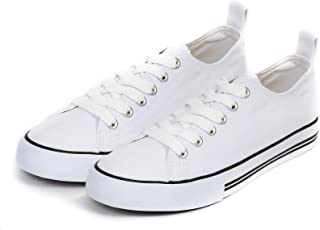 Women's Sneakers Casual Canvas Shoes, Low Top Lace up Cap Toe Flats (Order One Size Up) White Size: 10