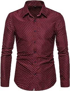 RAINED-Men's Dots Print Dress Shirt-Cotton Casual Long Sleeve Shirt Regular Fit Button Down Business Classic Fit Shirt