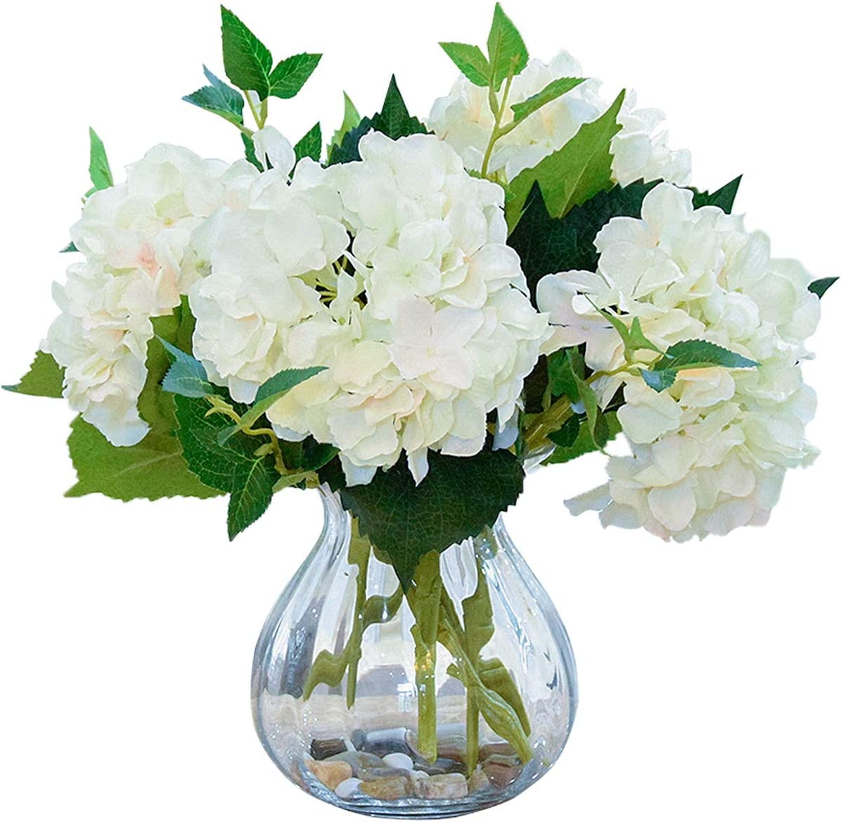Foraineam 4 Pack Artificial Hydrangea Max 59% OFF White Flower Faux San Diego Mall Bouquets