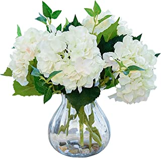 Foraineam 4 Pack Artificial Hydrangea Flower Bouquets Faux White Silk Hydrangea Flowers with Stems and Leaves for Wedding ...