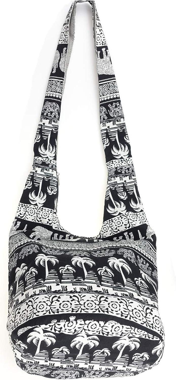 Hippie Cross Body Shoulder Bags Thai Cotton Sling Bags Bohemian Elephant Hobo Bags Hipster Messenger Bag Roomy Boho Casual