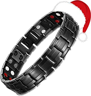 Mens Health Stainless Steel Magnetic Black Power Bracelet for Arthritis with Link Removal Tool