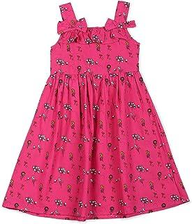 فستان نصف كم قطني بقصة عادية للفتيات الصغيرات من شيروكي (لون فوشيا - سنتين - CCJGDRS20129D19)