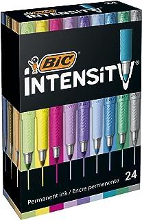 BIC Intensity Fine Metallic Marqueurs Permanents Pointe Fine - Couleurs Assorties, Boîte de24