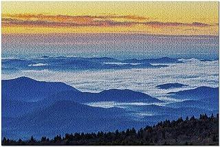 HDブルーリッジマウンテンズノースカロライナ-日の出9015690の雲が少なく、オレンジ色の空の山の美しい景色の層(大人用のプレミアム1000ピースジグソーパズル52x38cm)