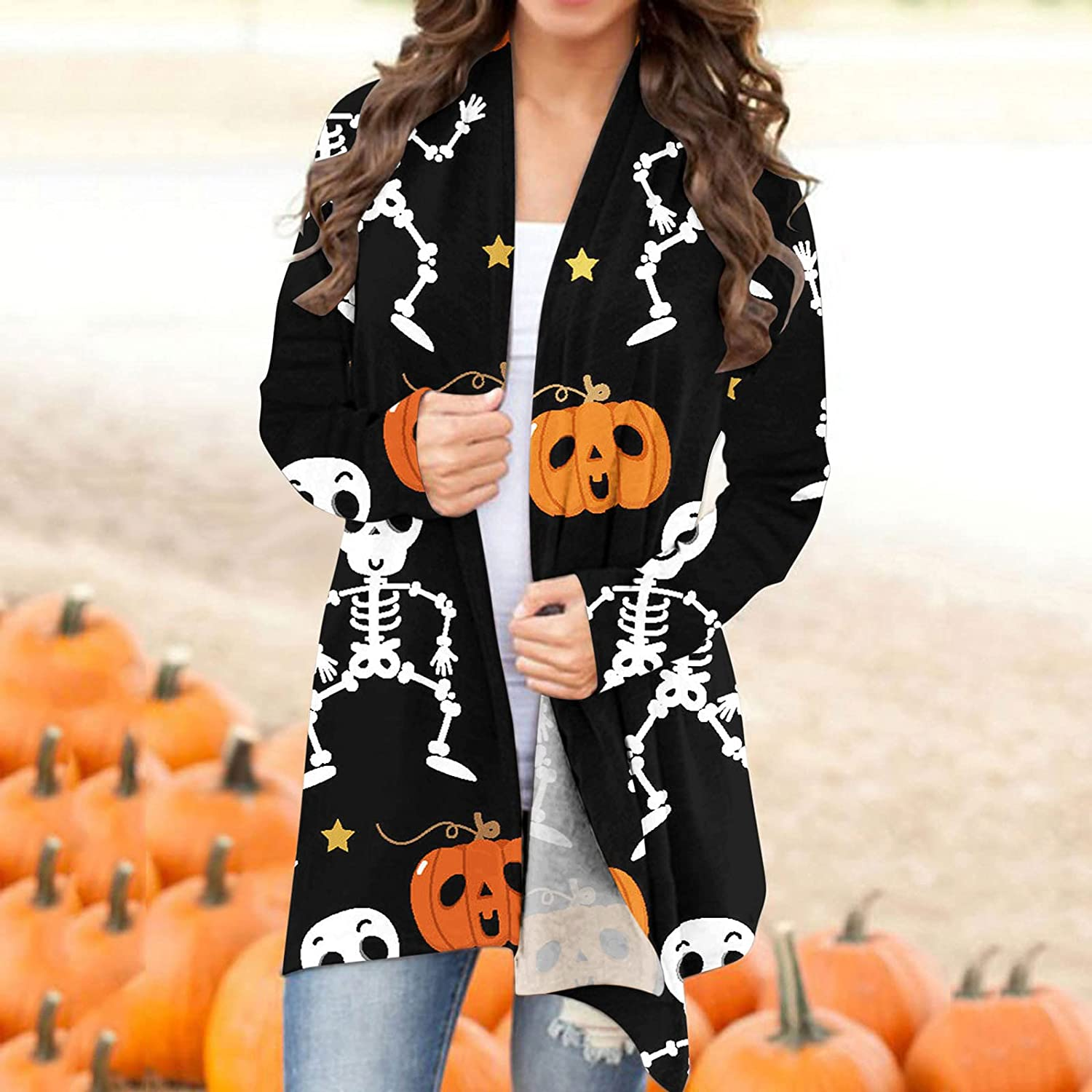 nunonette Open Front Cardigan for Women Long Sleeve Halloween Printed Funny Cute Smiley Pumpkin Knitted Sweater Jacket