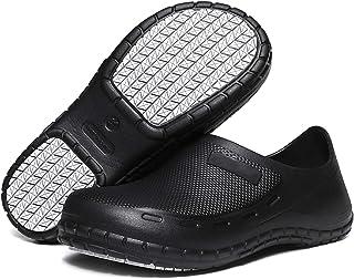 Lightweight Garden Kitchen Hospital Work Clog Slip Resistant Restaurant Shoes Unisex Black UK5-10