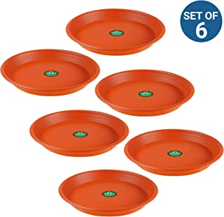 Trust basket UV Treated 6.5 inch Bottom Tray Plate/Saucer for 8-inch Plastic Pot (Terracotta, Set of 6)