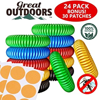 GREAT OUTDOORS Natural Mosquito Repellent Bracelets, Insect Bug Protection up to 300 Hours Bands, Deet-Free Wristband, Pest Control Bands for Kids & Adults, 24 Pack
