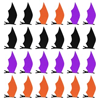 FEPITO 12 Pairs Halloween Hair Clips Bat Wings Clip Devil Clips Hairpin Hair Accessories for Women Halloween Cosplay Costume
