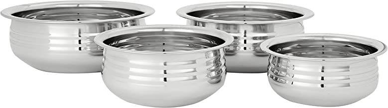 Amazon Brand - Solimo Stainless Steel Urli Set (4 pieces)
