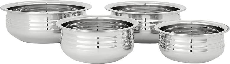 Amazon Brand - Solimo Stainless Steel Urli Set (4 pieces, 800ml, 1100ml, 1400ml and 1800ml)