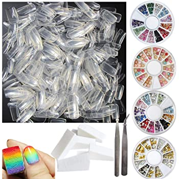 500pcs False Nail Tips Full Cover French Fake Nails, 4 Wheels Acrylic Nail Rhinestones, 5pcs Nail Art Gradient Sponges, Manicure Tools for Teens Women Girls (Bi005A)