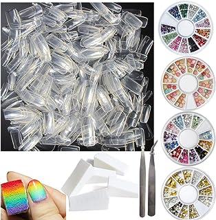 500pcs Fake Nail Tips Full Cover Square Clear Acrylic False Nails Kit with Decoration rhinestones, Polish Transfer Soft Sp...