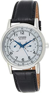 Citizen Eco Drive Watch For Men - Analog Leather Band - Ao9000-06B, Black,