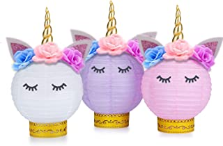 Grabo Unicorn Party Supplies and Decorations - Unicorn Table Centerpieces Paper Lanterns DIY for Unicorn Themed Baby Shower, Birthday Party Supplies - Set of 3(Pink, Purple, White)