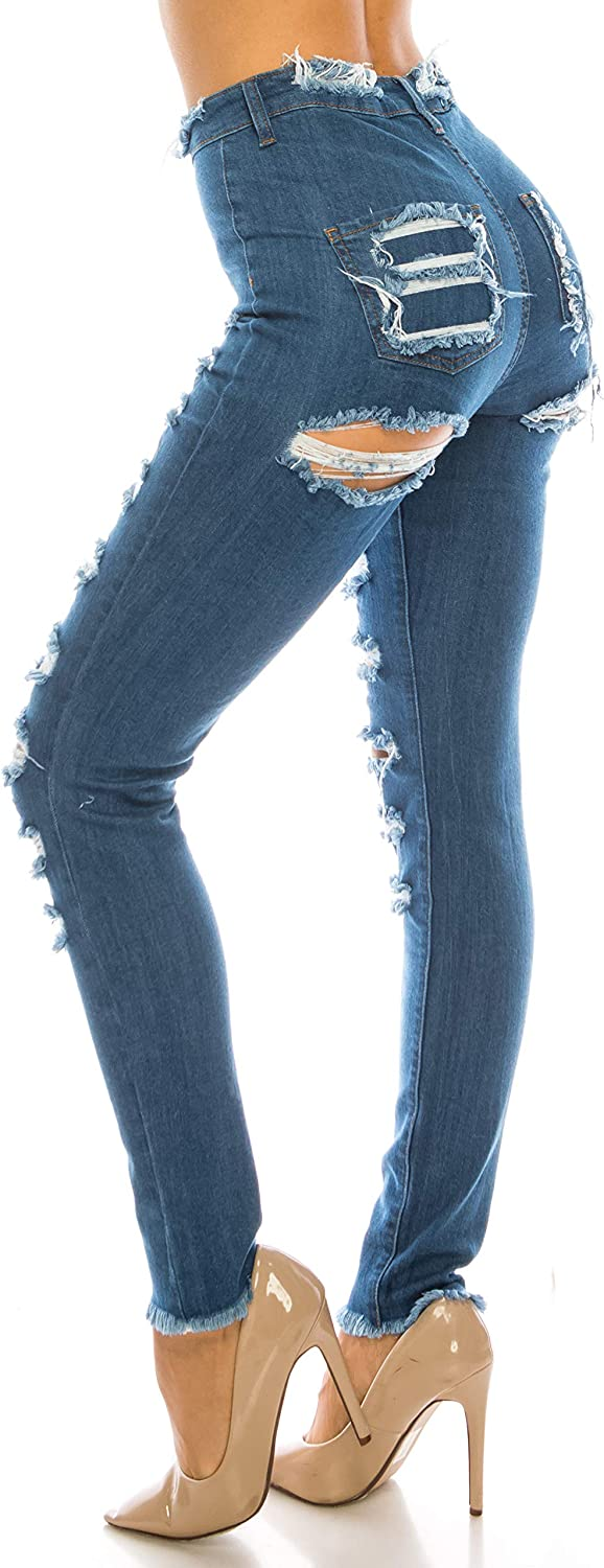 Aphrodite High Waisted Jeans for Women - High Rise Skinny Womens Hand Sanding Distressed Ripped Jeans with No Pockets 4767 Dark Blue 13