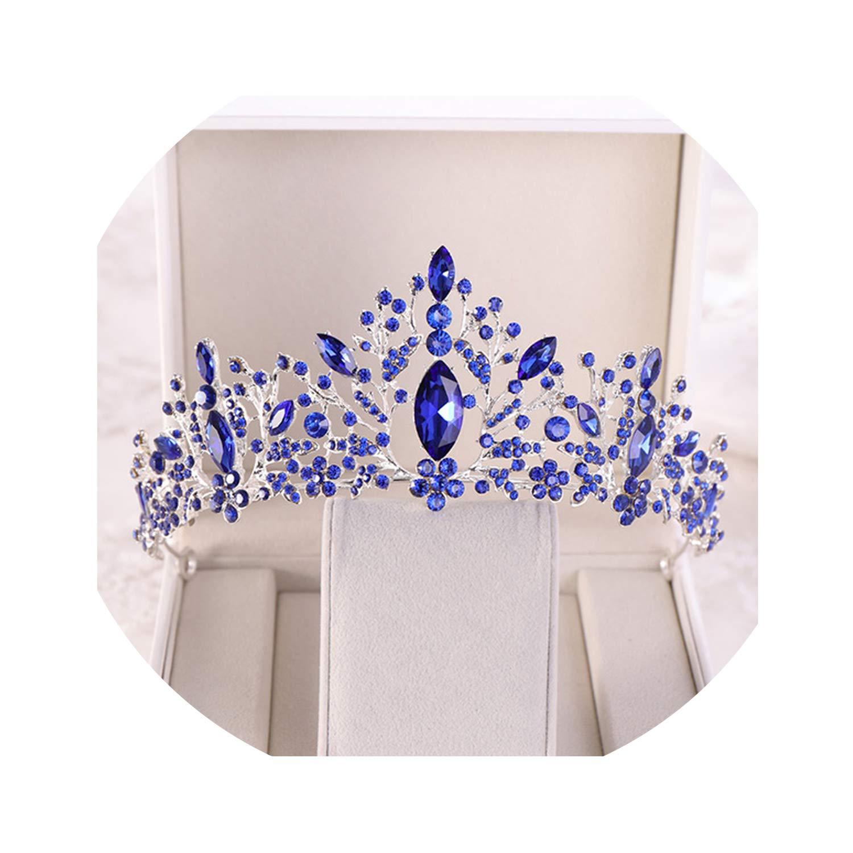 Blue Pink Crystal Women Hair Jewelry Rhinestone Silver Gold Tiara Crowns Headbands Wedding Bridal Queen Hair
