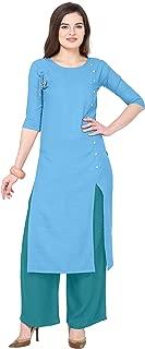 Florence Sky Blue Slub Cotton Embellished Stitched Kurtis with Palazzo(FL-KT-124-PZ-10)