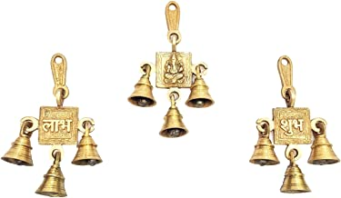 Aakrati Wind Chimes Set of Laxmi Ganesha Saraswati Single Hanging Bells - Hand Crafted Metal Brass Hanging Door Decorative Bells
