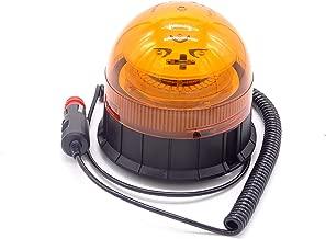 Rotativo LED magnetico para tractor, camion, o vehiculo con mechero a 12 o 24 voltios con luz ambar intermitente y destellante estrosbotica de emergencia, Irrompible.
