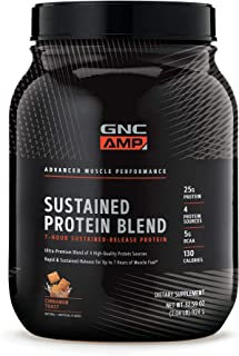 GNC AMP Sustained Protein Blend - Cinnamon Toast, 2.04 lbs, High-Quality Protein Powder for Muscle Fuel