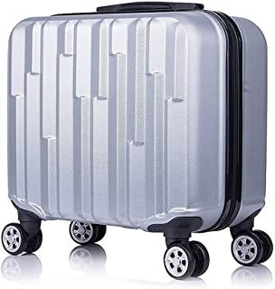 "Fashion 18"" Travel Luggage Suitcase Spinner Wheels Boarding Case Trolley Suitcase Wheeled Travel Rolling Luggage Suitcase LGX32 (Color : Silver)"