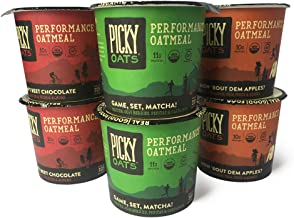 Picky Oats Organic Performance Oatmeal, Variety Pack, All Flavors, 2.8 oz (Pack of 6 Cups) By Picky Bars
