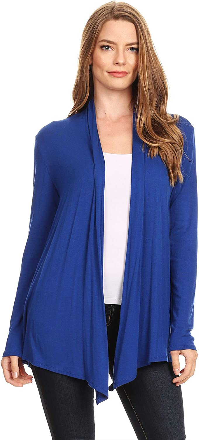 Women's Solid Casual Lightweight Long Sleeve Loose Fit Knit Sweater Cardigan/Made in USA