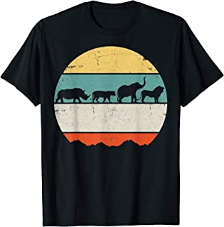 Africa Rhino Lion Elephant Vintage Retro Gift T-Shirt