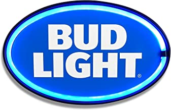 Bud Light  - Reproduction Advertising Oval Sign - Battery Powered LED Neon Style Light - 16 x 11 x 2 Inches