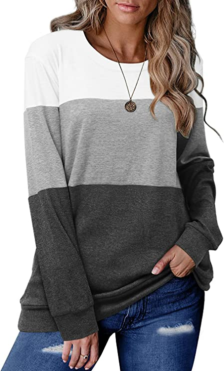 CRAZY GRID Women's Long Sleeve T Shirt Color Block Pullover Crew Neck Loose Comfy Casual Tops